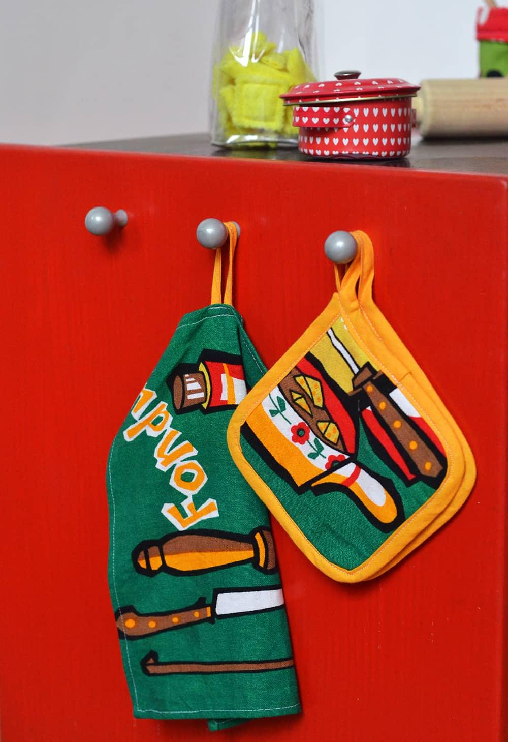 Kinderküche: Zubehör nähen Topflappen geschirtuch