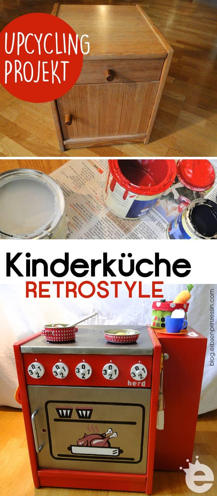 Möbel-Upcycling-Projekt: Kinderküche im Retrostil selber bauen. Schrank-Upcycling