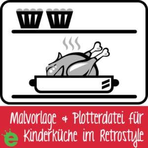 Malvorlage und Plotterdatei Retroherd Brathähnchen Muffins Backofen