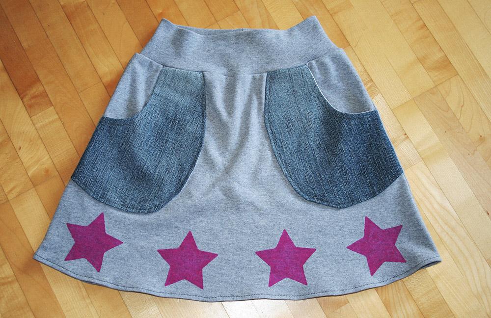 Mädchen-Rock aus Sweat und Jeans: Schnittmuster für Nähanfänger