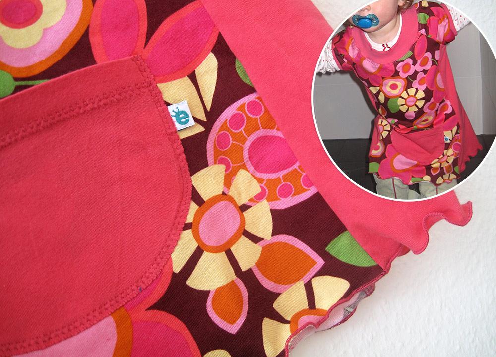Jerseykleidchen-Schnittmuster für Kinder: Details, Rollsaum