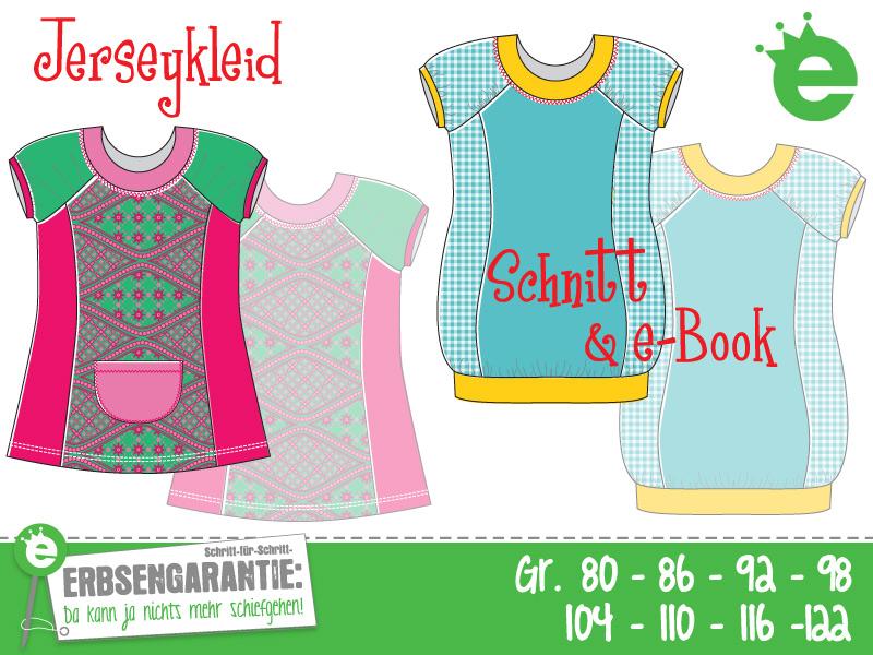 Jerseykleid für Mädchen nähen: KInder-Schnittmuster in Gr. 80 bis 122