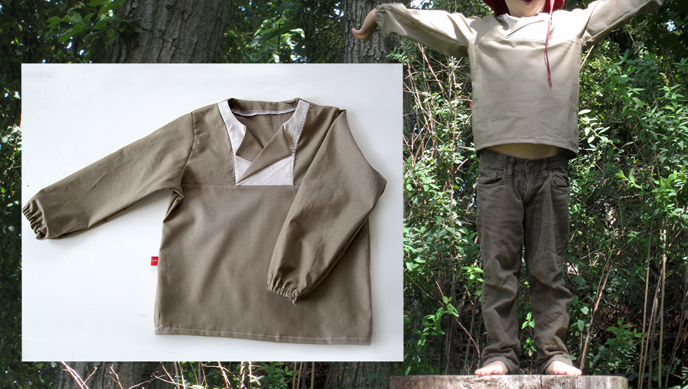 Leinenhemd für Kinder nähen, Öko-Stil