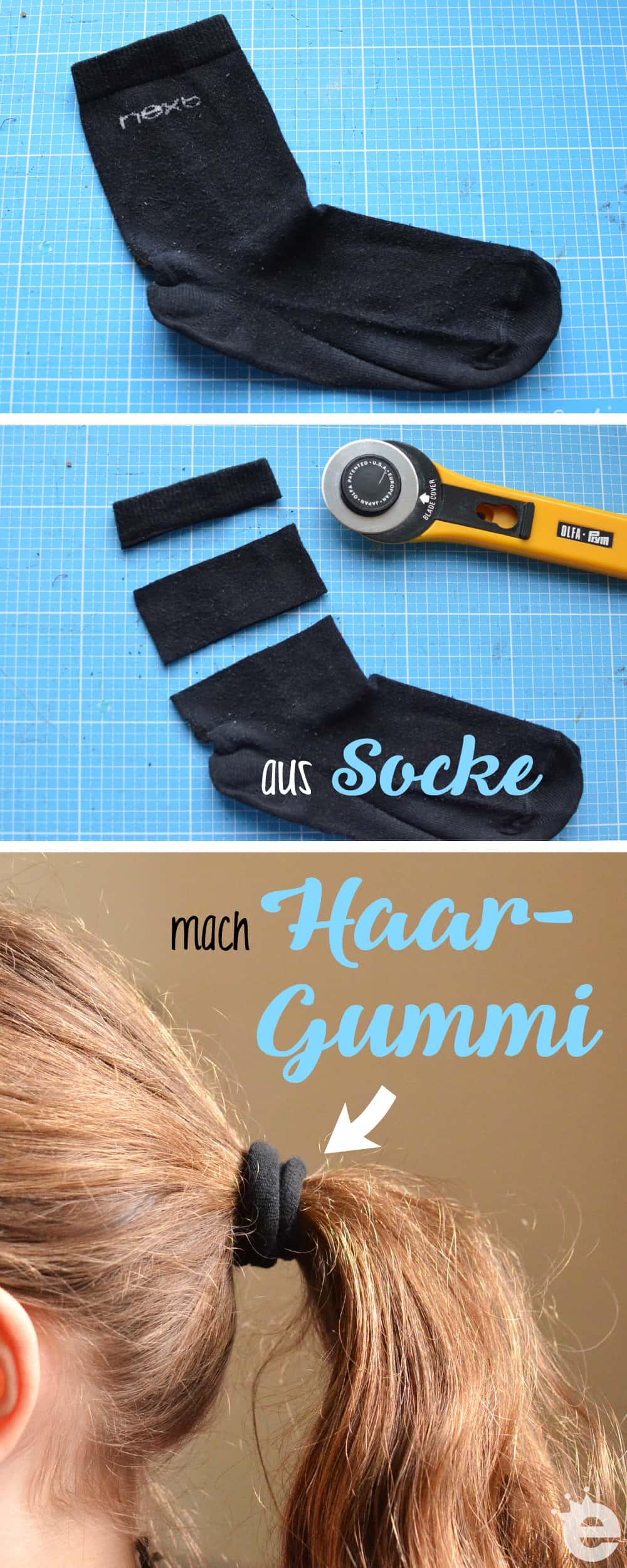 Upcycling Life-Hack: Haargummis aus Socken schneiden