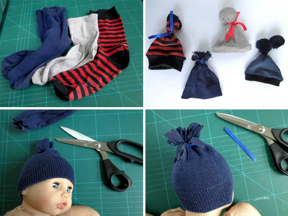 Puppenmützen aus alten Socken