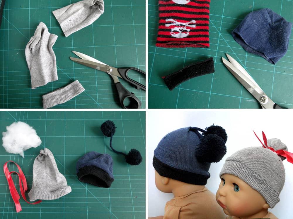 DIY: Puppenmützen aus kaputten Socken