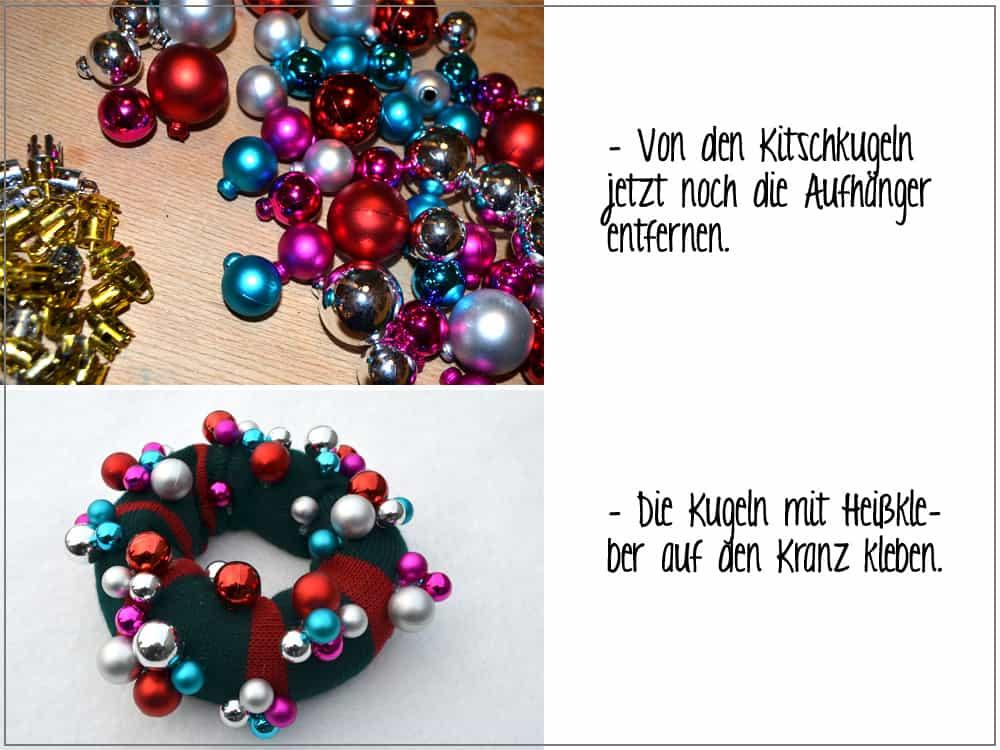 Strick-Weihnachtskranz mit Kugeln dekorieren