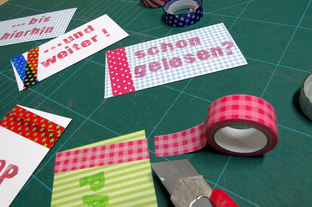 selbstgemachte lesezeichen mit washi tape bekleben