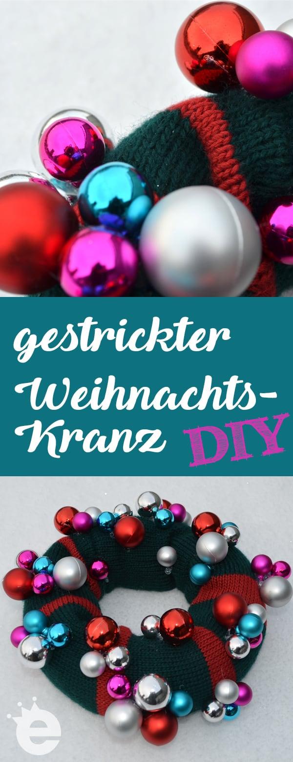 gestrickter Weihnachtskranz, Adventskranz stricken: DIY-Anleitung