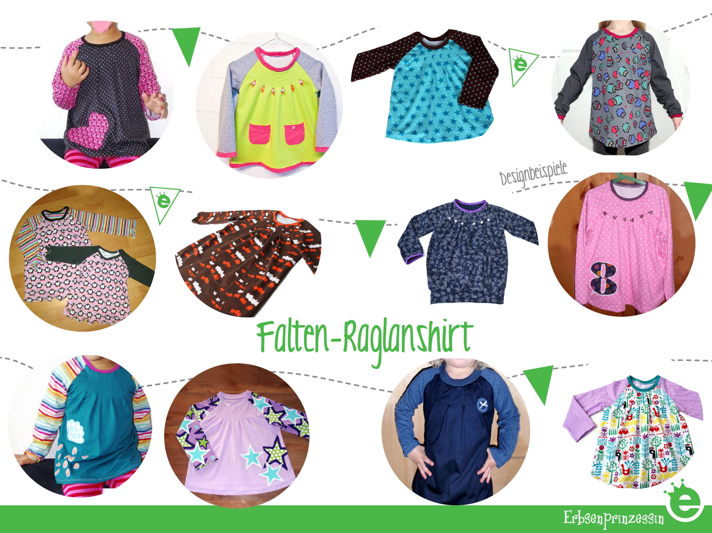 Schnitt Falten-Raglanshirt aus Jersey für Mädchen: Designbeispiele