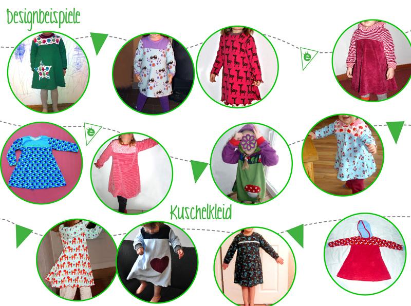 Designbeispiele Schnittmuster Kuschelkleid, badekleid für Kinder