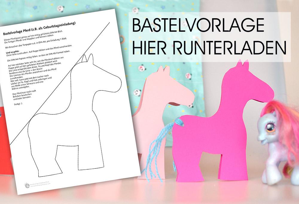 Gratis Download Bastelvorlage für die Pferde-Einladung