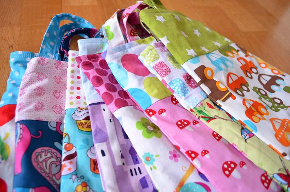 kleine Taschen aus Stoffresten nähen, Kindereinkaufstaschen, Stoffbeutel