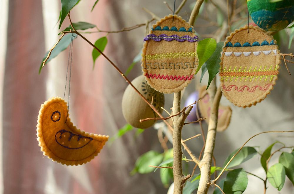 Osterdeko aus Filz - Eier und Vögel / Hühner zum Aufhängen