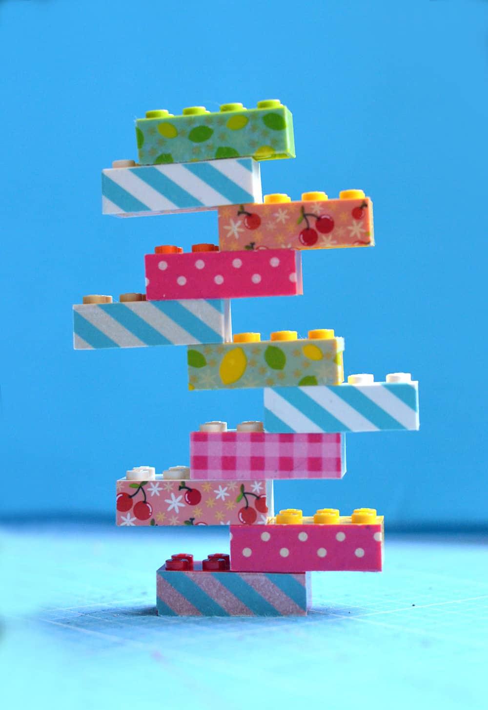 Legosteine mit Washi Tape