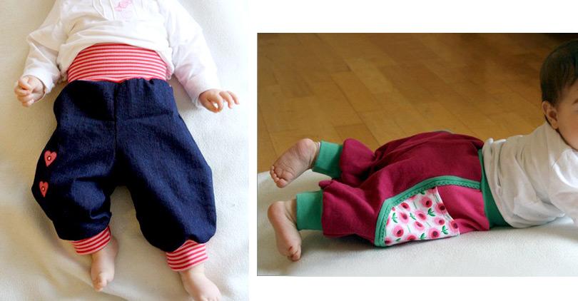 Schnittmuster Einsatz-Hose: babyhose nähen aus Jeans
