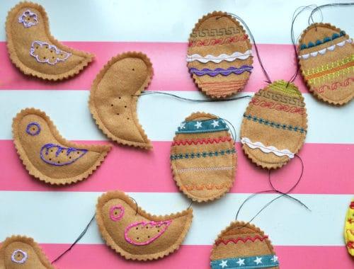 Kekse und Vögel aus Filz nähen als Osterdeko