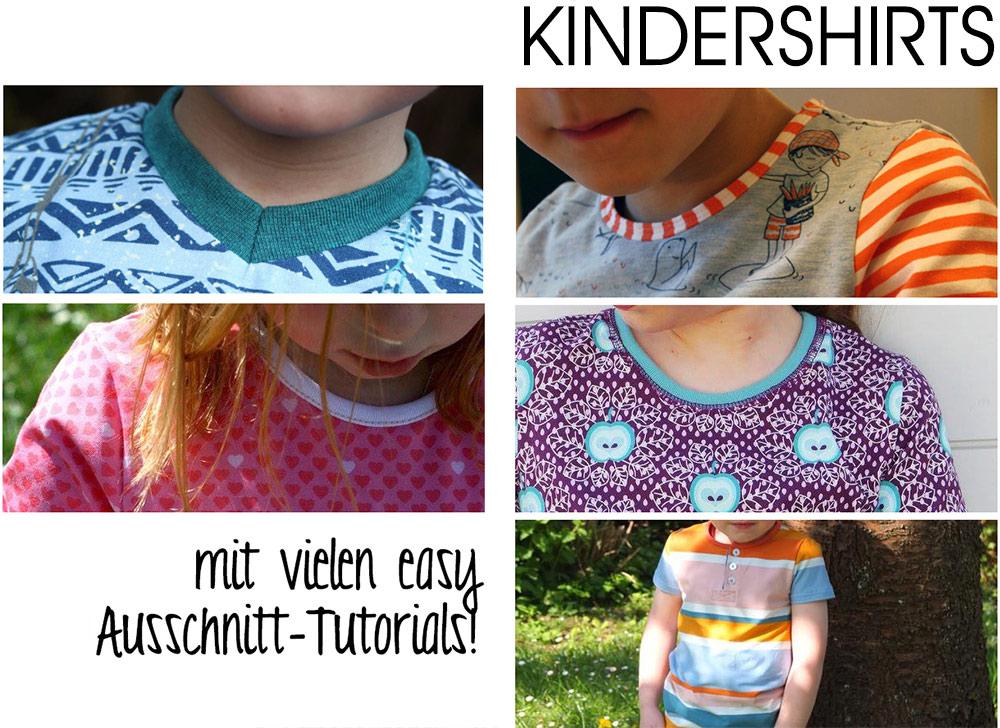 Kindershirts nähen: Tutorials für viele Ausschnitte: V-Ausschnitt, Einfassen, Bündchen, Knopfleiste