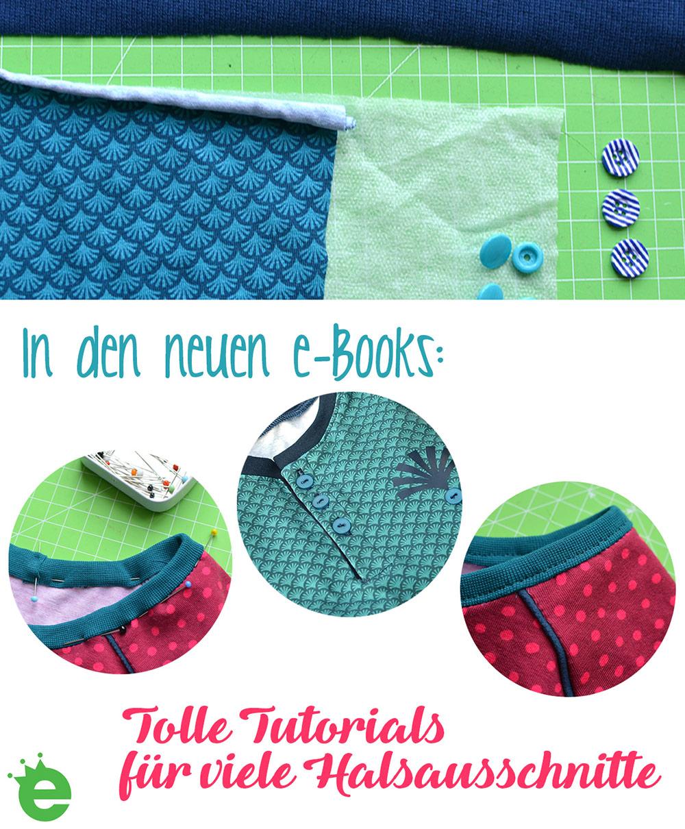In den Kindershirt-e-Books: Tutorials für viele Halsaausschnitte. Schnittmuster mit Näh-Anleitungen und Fotos
