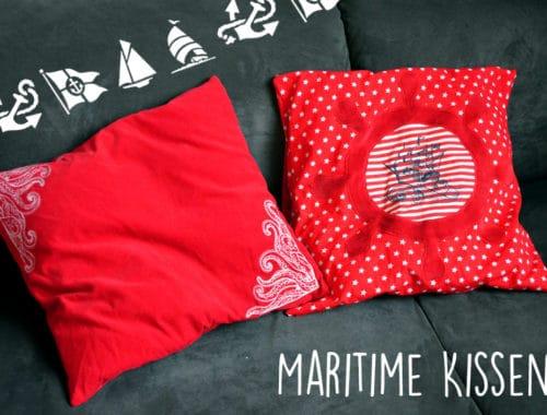 Kissen mit Tentakeln, Piratenschiff und Steuerrad