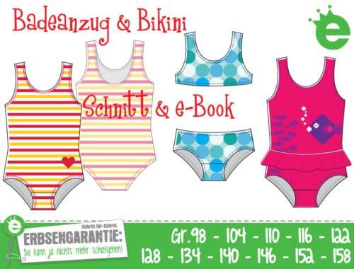 Schnittmuster Badeanzug und Bikini für Mädchen