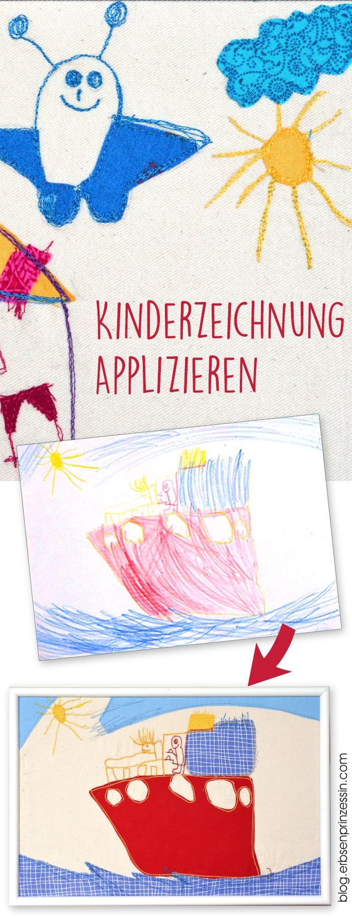 Genähte Geschenke: Kinderzeichnungen applizieren und nachnähen