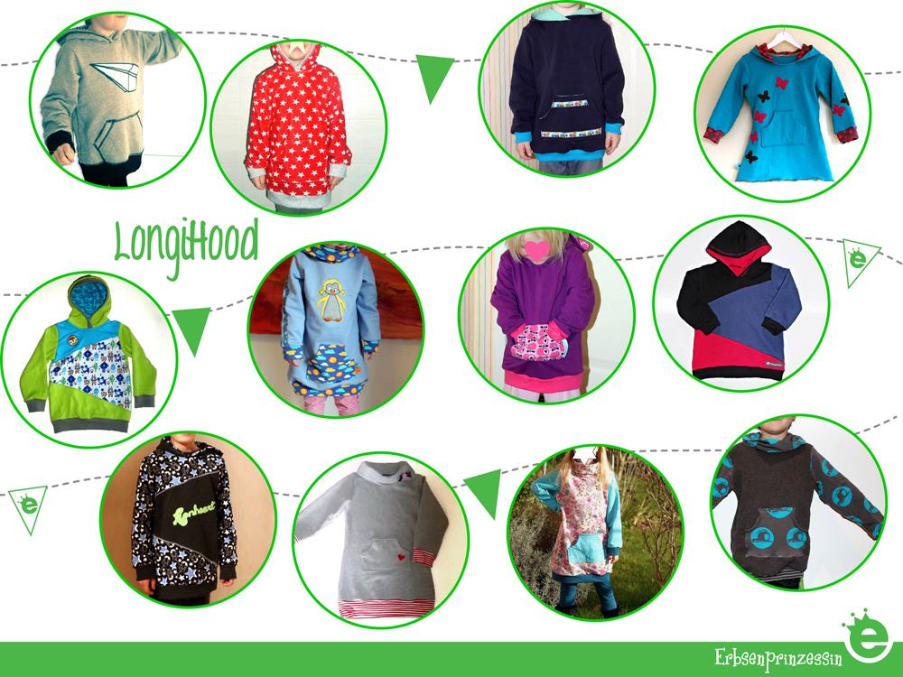 Designbeispiele zum oversized Sweater / Hoodie / Kapuzenkleid für Kinder