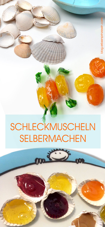 Nach dem Strand-Urlaub: Schleckmuscheln selbermachen. Schnelle Idee aus Muscheln und Bonbons, auch für den Kindergeburtstag