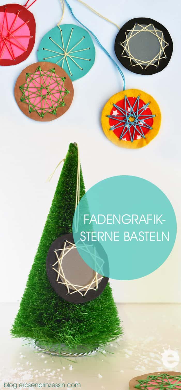 Gratis-Vorlage runterladen: Sterne basteln für Weihnachten aus Filz und Wolle. Basteln mit Kindern: Fädelsterne, Wickelsterne, Fadengrafik.