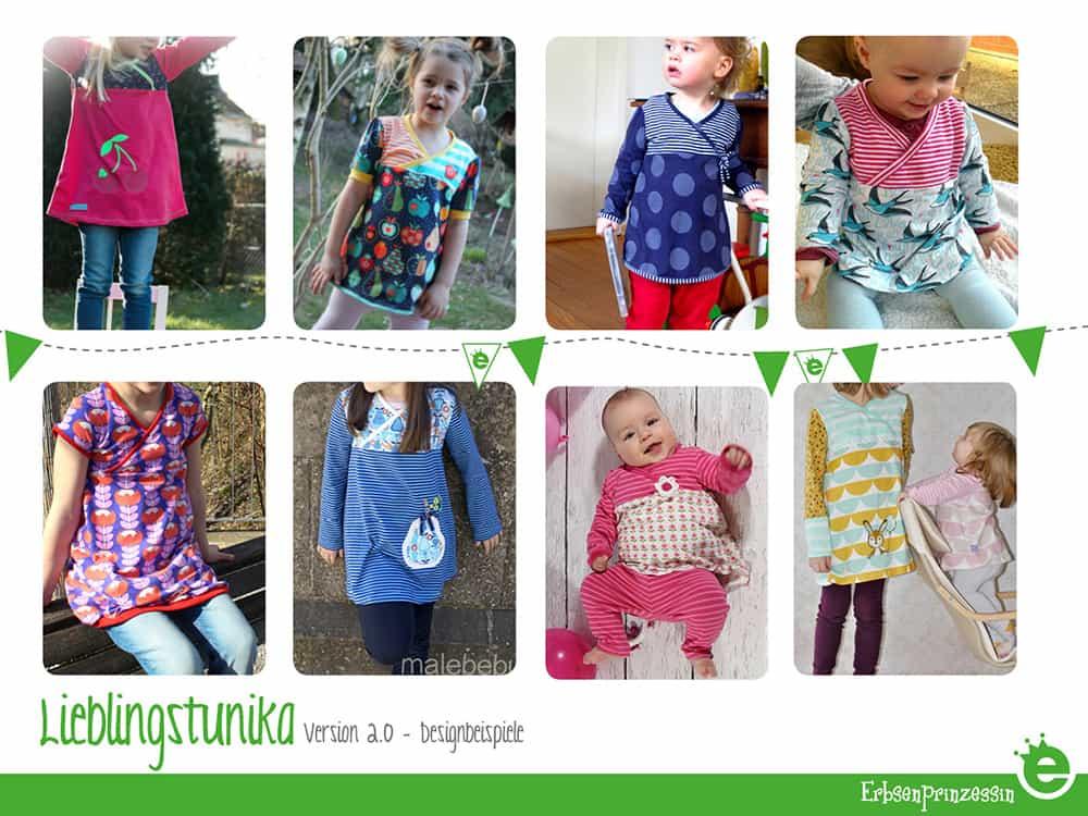 Designbeispiele zum Schnittmuster Lieblings-Tunika für Mädchen. Kindertunika, Oberteil aus jersey Nähanleitung und e-Book