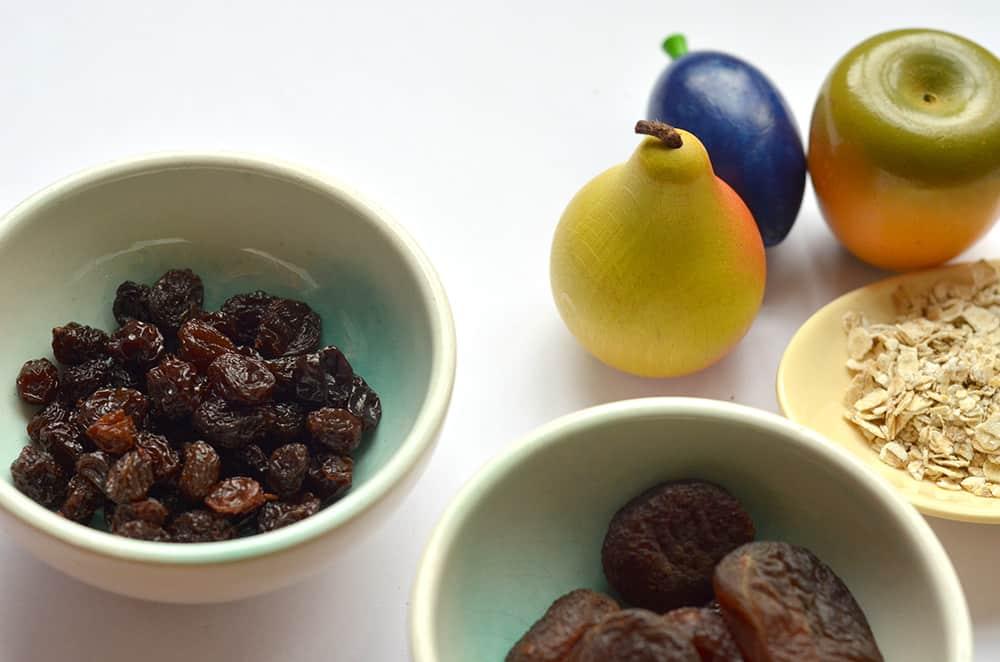Zutaten für die Fruchtriegel: Trockenfrüchte