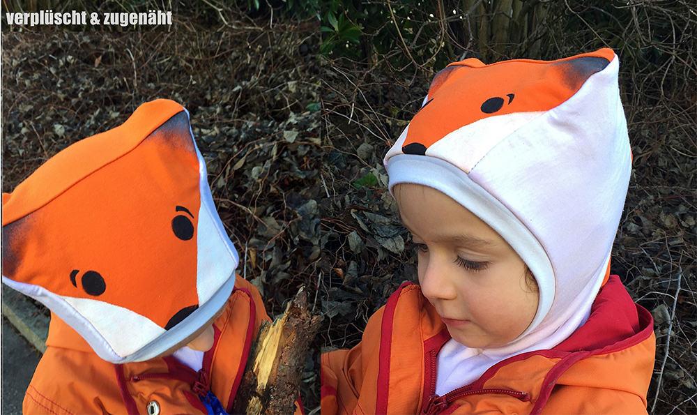 Wintermütze / Schalmütze für Kinder im Fuchs-Design von verplüscht und zugenäht // Schnittmuster: Katzenohrenmütze von erbsenprinzessin
