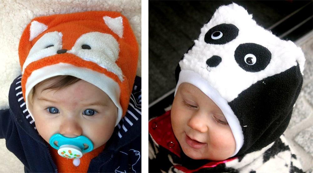 Tiermützen / Schlupfmütze für Babys genäht nach dem Schnittmuster Katzenohrenmütze by erbsenprinzessin