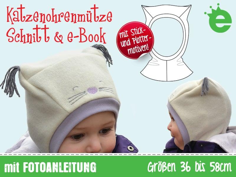 Katzenohrenmütze: Schnitt und e-Book für eine Schlupfmütze für Kinder und Baby. Schalmütze selber nähens