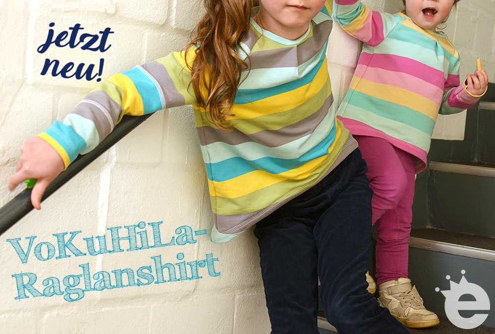 neues Schnittmuster und e-Book zum selber nähen: Vokuhila-Raglanshirt für Kinder