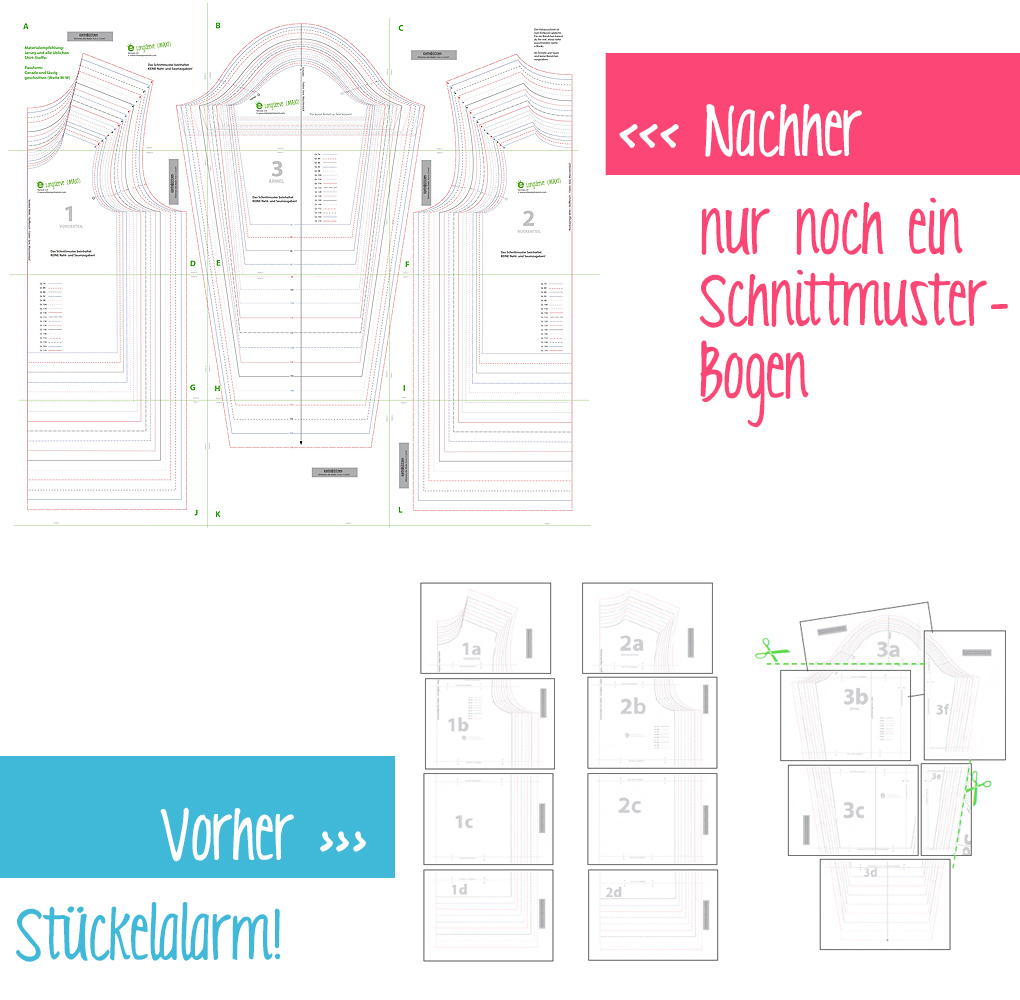 Schnittmuster Klebebogen neues layout