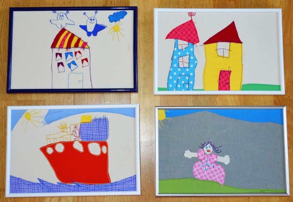 genähte Kinderzeichnungen Kinderkunst nähmalen