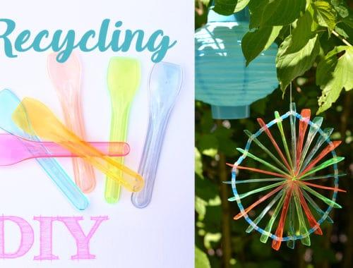 Recycling DIY aus Eislöffeln Sonnenfänger basteln