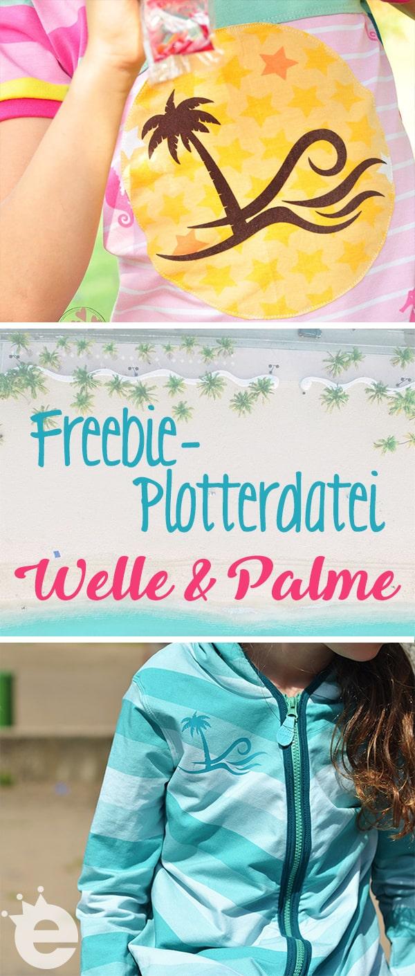 Plotterdatei gratis Welle mit Palme