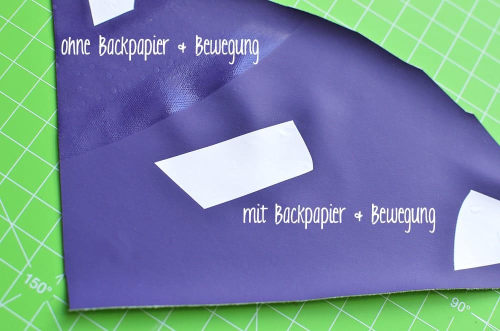 Vergleich Regenstoff bügeln, mit und ohne Backpapier