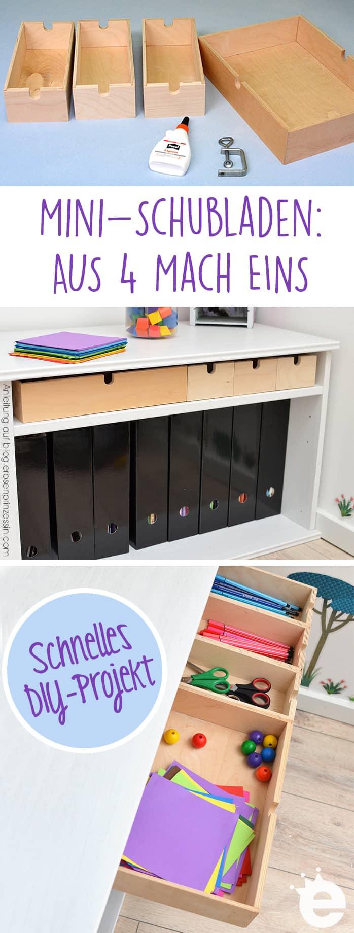 Mini-Schubladen: Aus 4 mach eins. DIY-Anleitung für einen Schubkasten mit Sortierfächern
