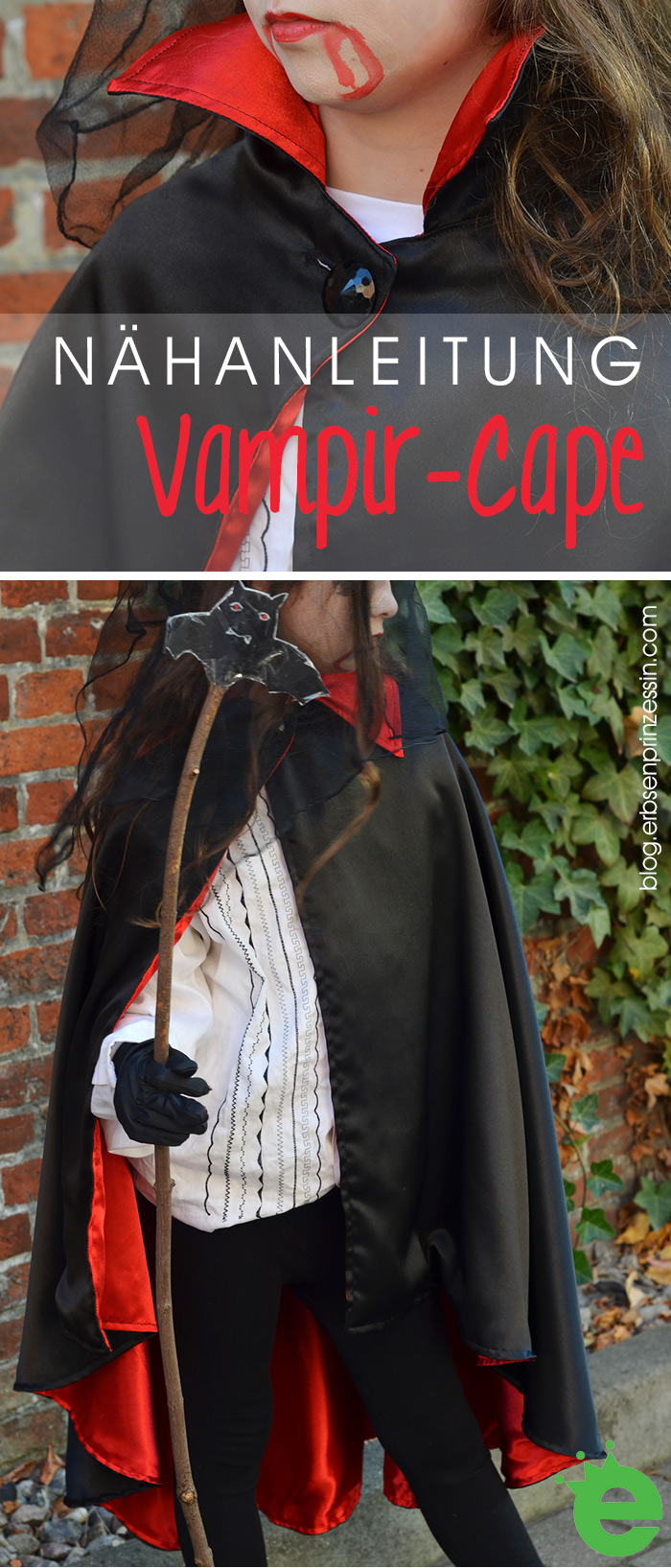 Nähanleitung: Vampir-Cape für Helloween, Kinder-Vampirumhang nähen Freebie Dracula-Verkleidung