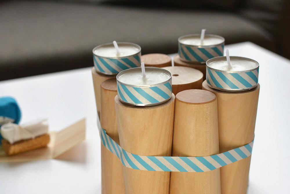 Upcycling-Adventskranz mit washitape und Teelichten