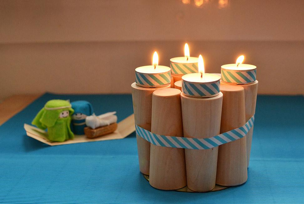 schlichter Holz-Adventskranz: DIY selbermachen aus Möbelfüßen