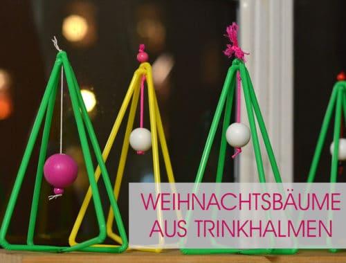 Weihnachtsbäume aus Trinkhalmen: Bastelanleitung für poppige bunte Adventsdeko