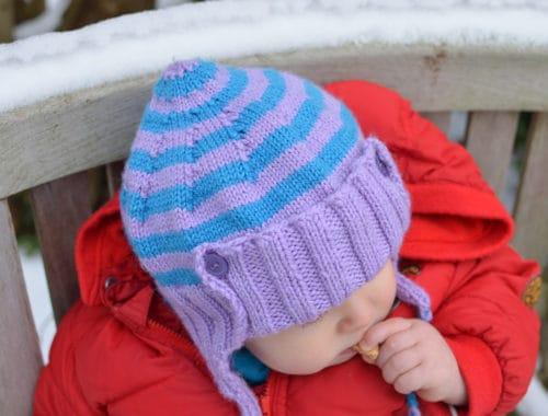 Babymütze mit Ohrenklappen stricken
