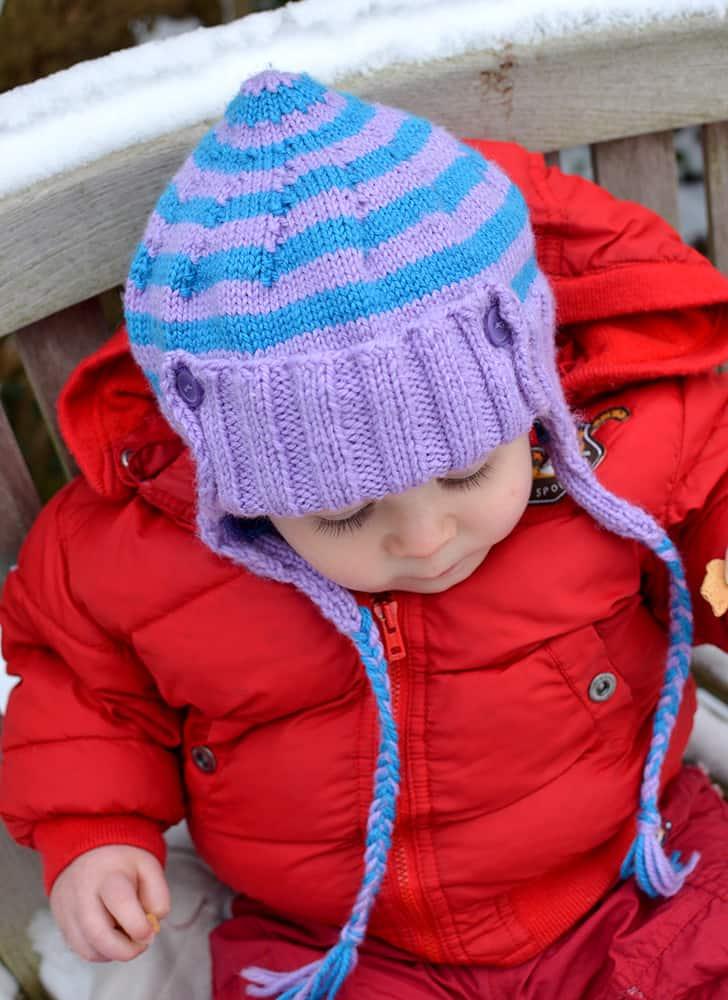 selbstgestrickte Wintermütze für Babys und Kleinkinder