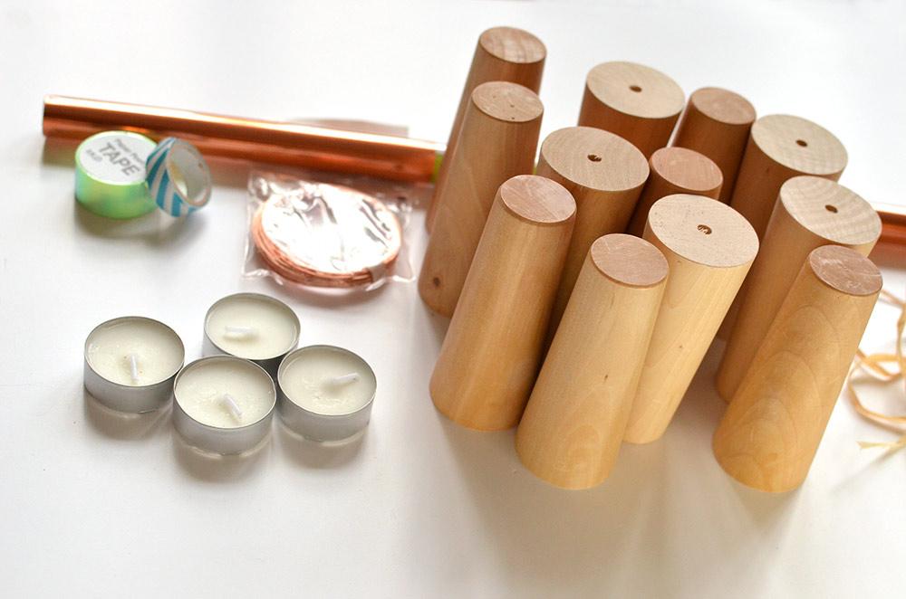 Last Minute DIY Adventskranz: Material, Möbelfüße, Teelichter