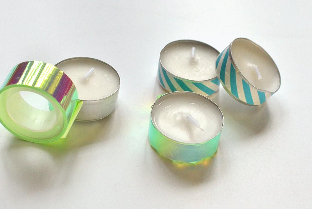 Teelichter mit washi-Tape bekleben für den DIY-Adventskranz