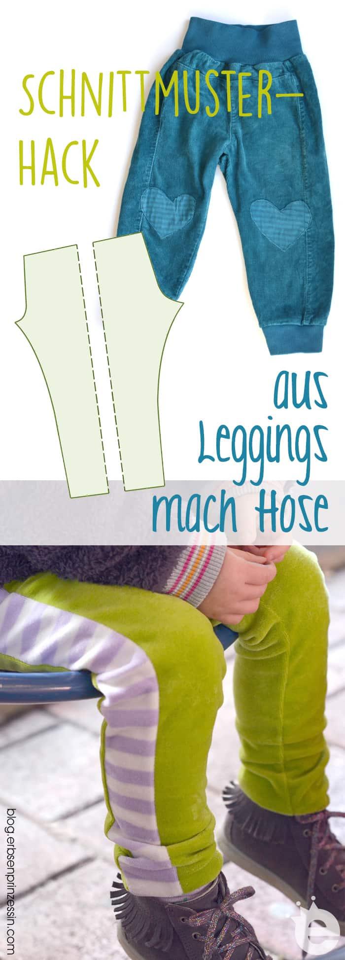 Näh-Hack: Aus Leggings mach Kinderhose. Nähtutorial für einfache Kinderhosen nach einem Leggingsschnittmutser